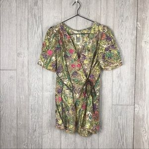 Anthropologie Burning Torch Silk Floral Wrap Top